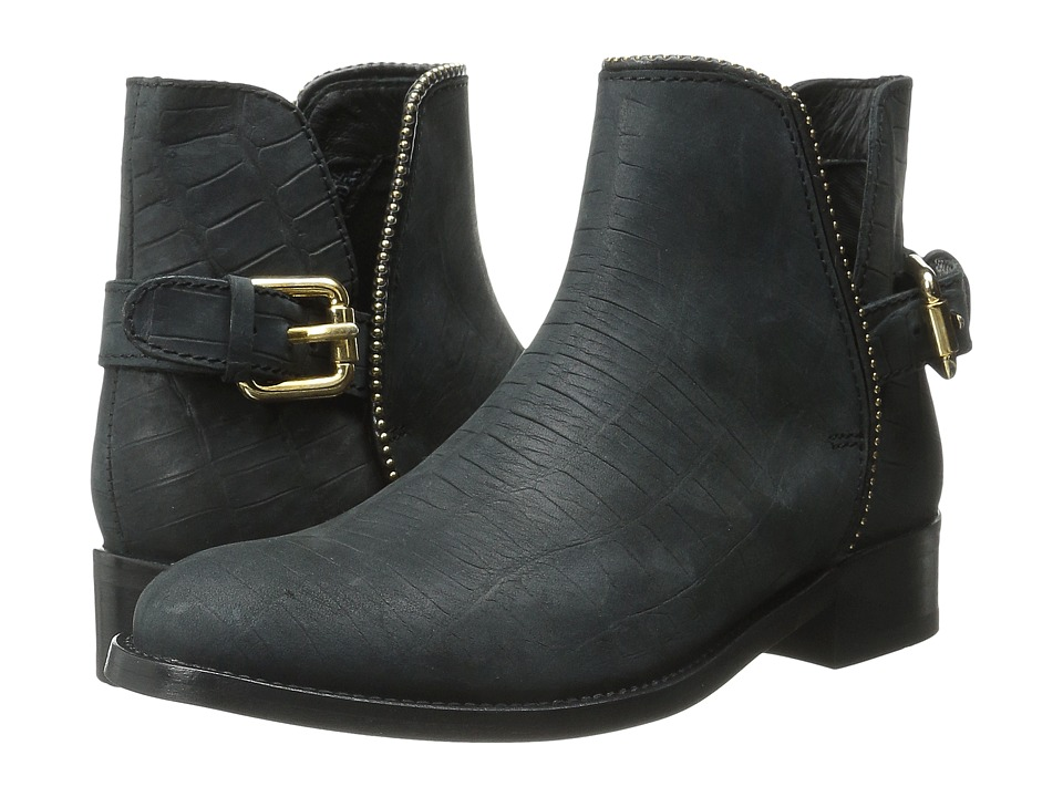 Just Cavalli Stamped Croc Nubuck Ankle Boot (Black) Women