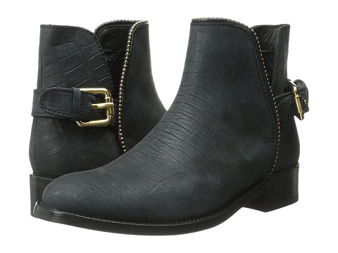 Just Cavalli - Stamped Croc Nubuck Ankle Boot (Black) Women's Pull-on Boots