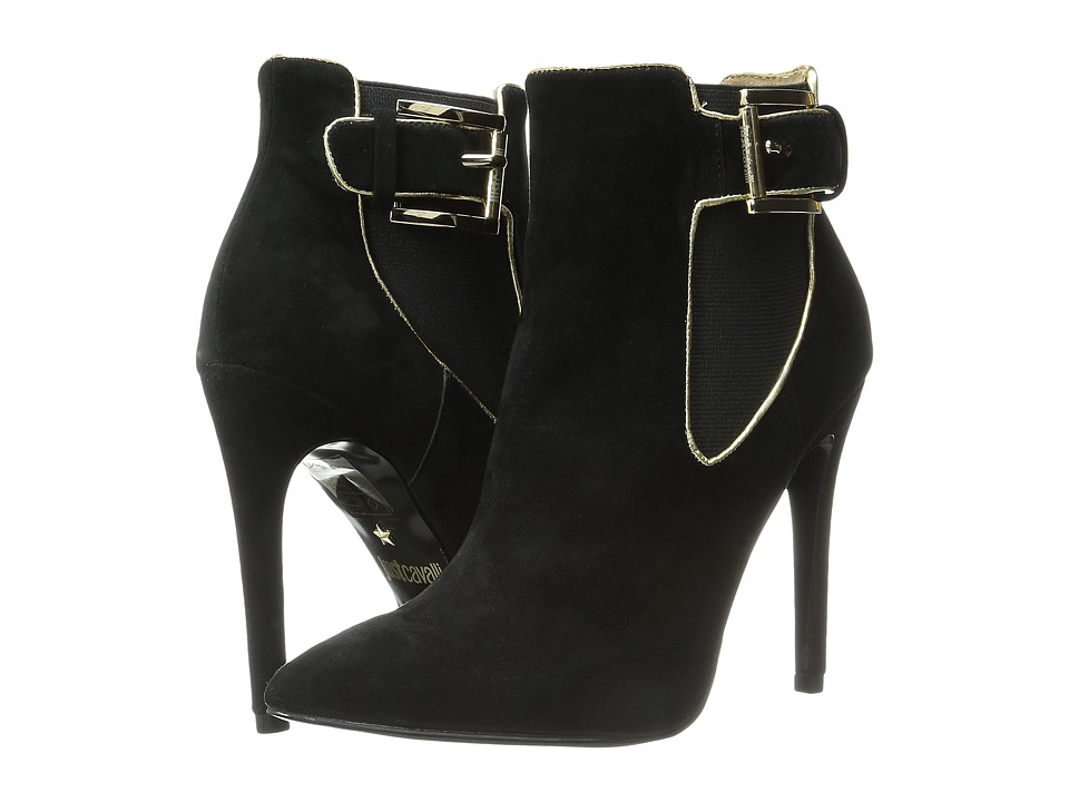 Just Cavalli - High Heel Ankle Boot w/ Piping (Black) Women's Pull-on Boots