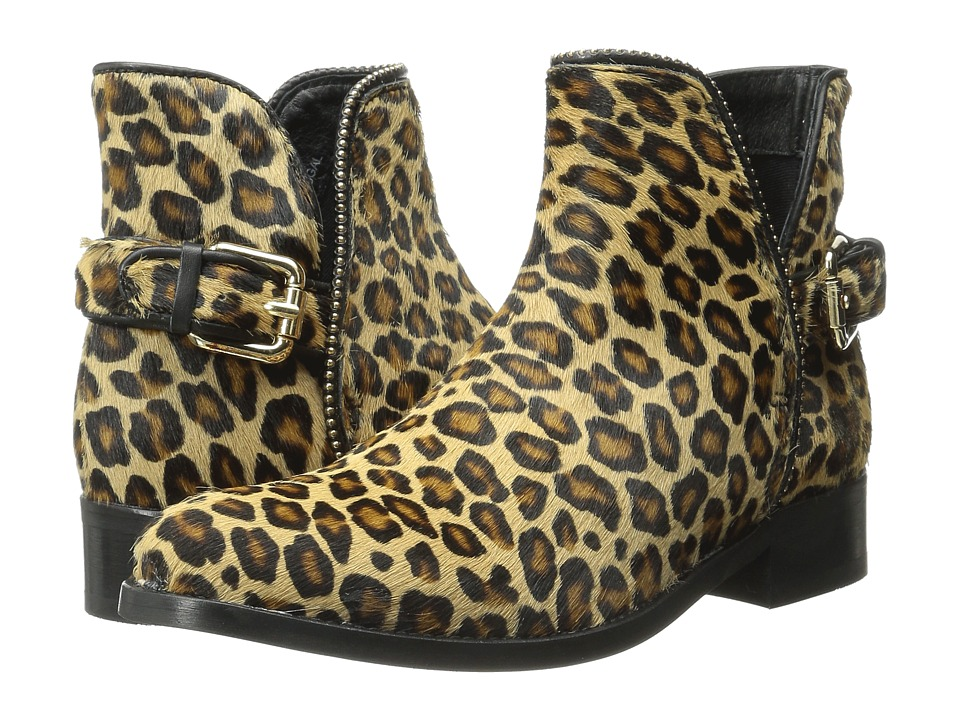 Just Cavalli Leopard Pony Hair Ankle Boot (Leather Brown) Women