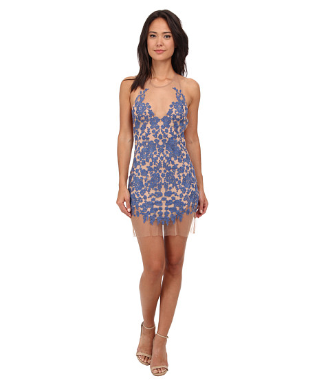 For Love and Lemons - Luau Halter Dress (Periwinkle/Nude) Women's Dress