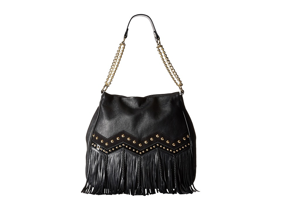 Just Cavalli - Fringe Hobo Shoulder Bag (Black) Hobo Handbags