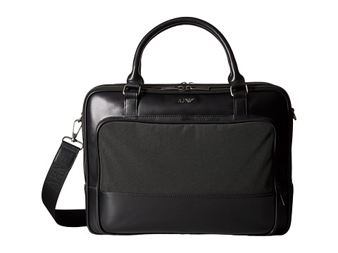Armani Jeans - Leather/Nylon Messenger Briefcase (Solid Black) Briefcase Bags