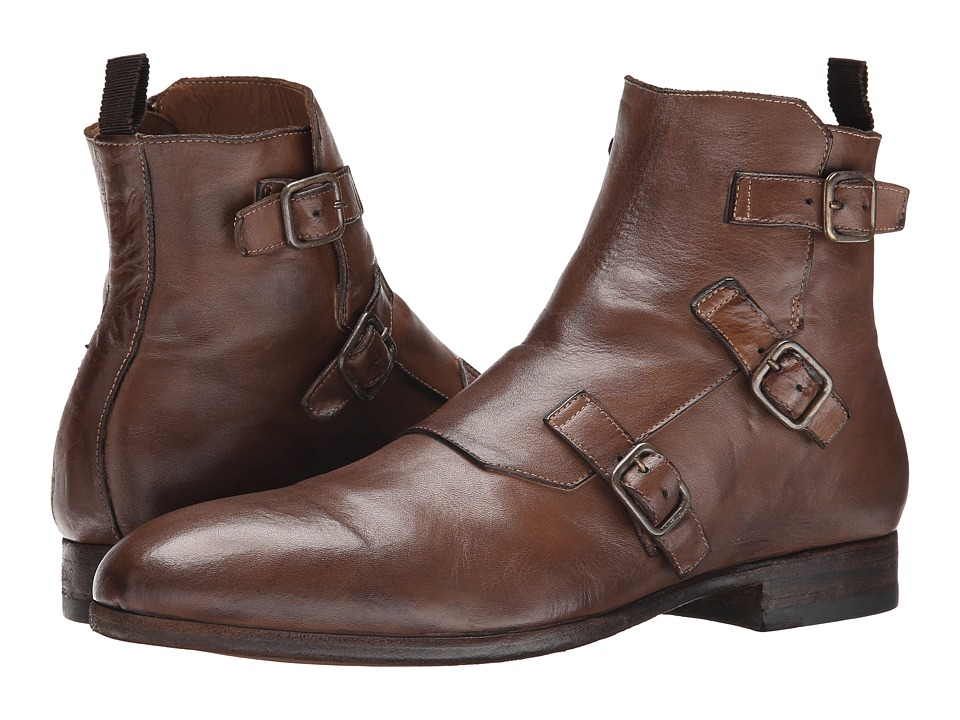Alexander McQueen Triple Buckle Monk Boot (Cigar) Men