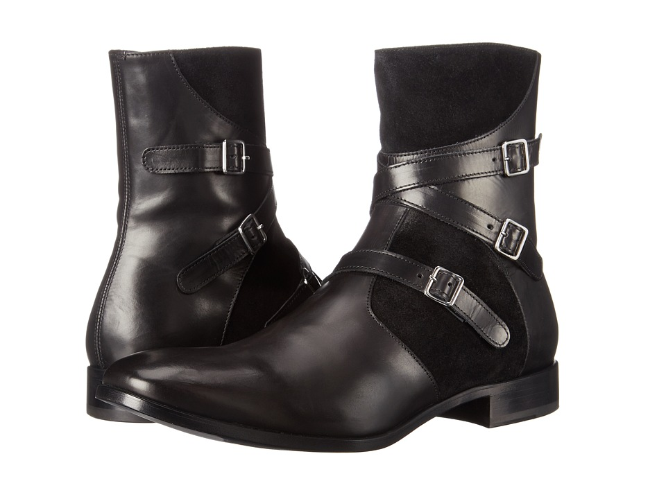 Alexander McQueen - Triple Buckle Ankle Boot (Black) Men's Boots