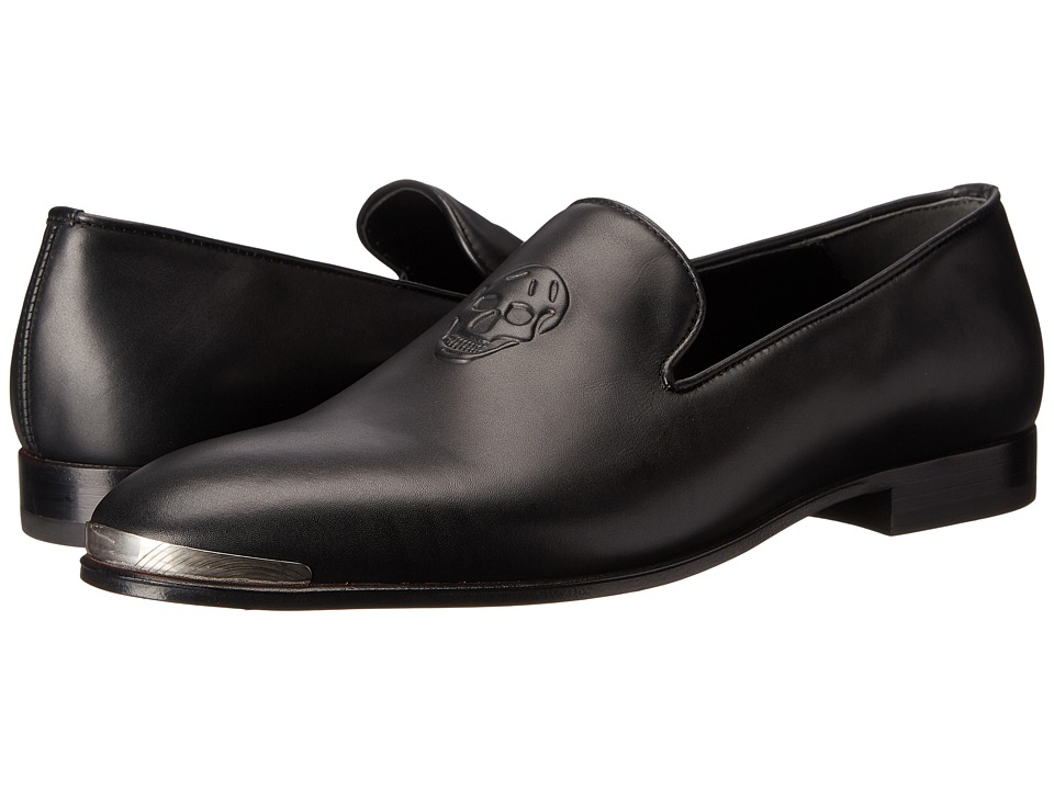 Alexander McQueen - Embossed Skull Loafer w/ Metal Cap (Black) Men's Slip on Shoes