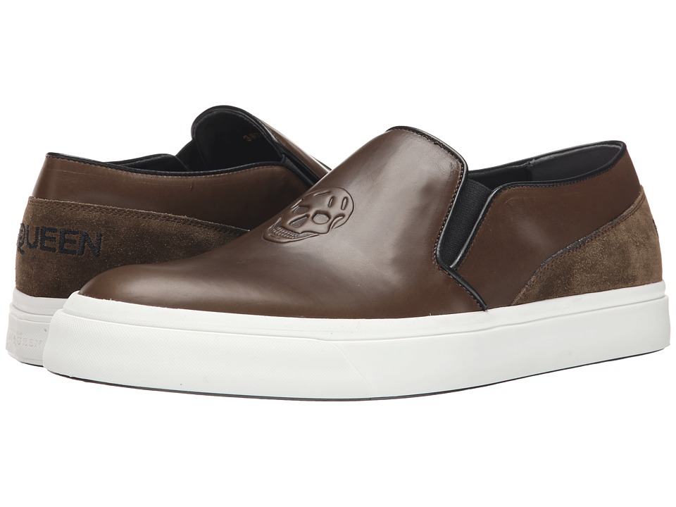 Alexander McQueen - Embossed Slip-On Trainer (Military/Oil/Black) Men's Slip on Shoes