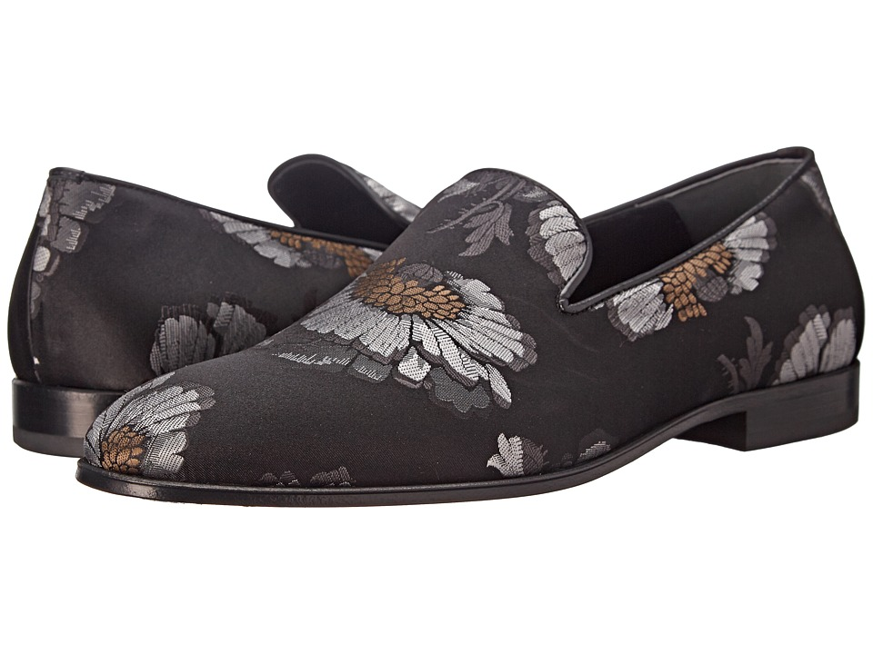 Alexander McQueen - Floral Loafer (Black/Silver/Ivory) Men's Slip on Shoes