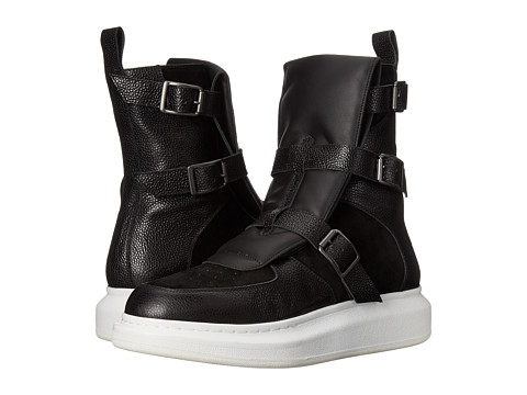 Alexander McQueen - Triple Buckle High Top Trainer (Black) Men's Zip Boots