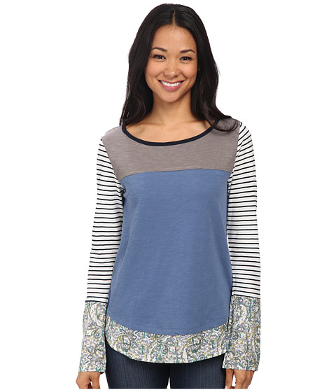 Jag Jeans - Ellie Tee Classic Fit Shirt Striped Jersey (Blue Vintage) Women's T Shirt