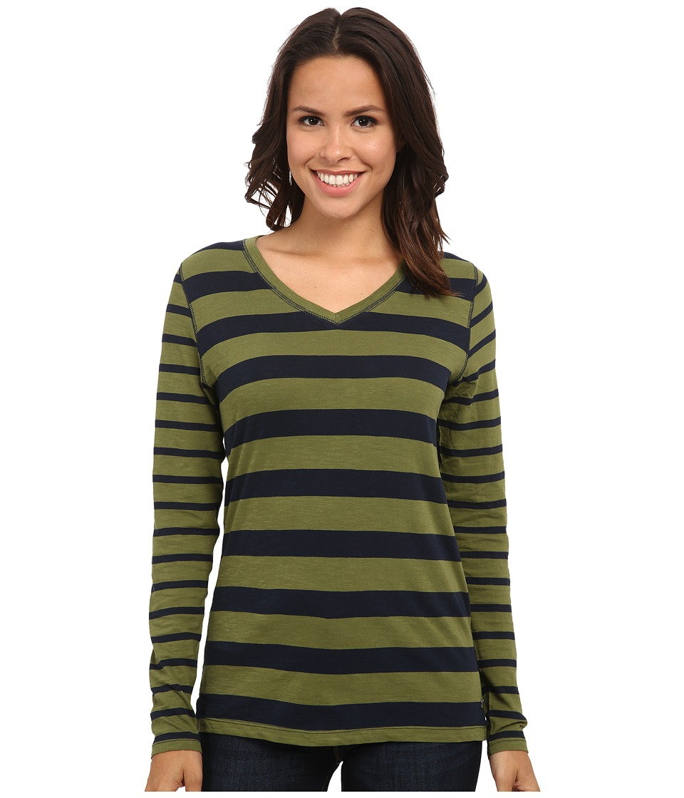 Jag Jeans - Wells Tee Classic Fit Shirt Striped Jersey (Olive) Women