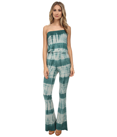 Chaser - Tie-Dyed Drape Back Bell Bottom Jumpsuit (Frond) Women's Jumpsuit & Rompers One Piece