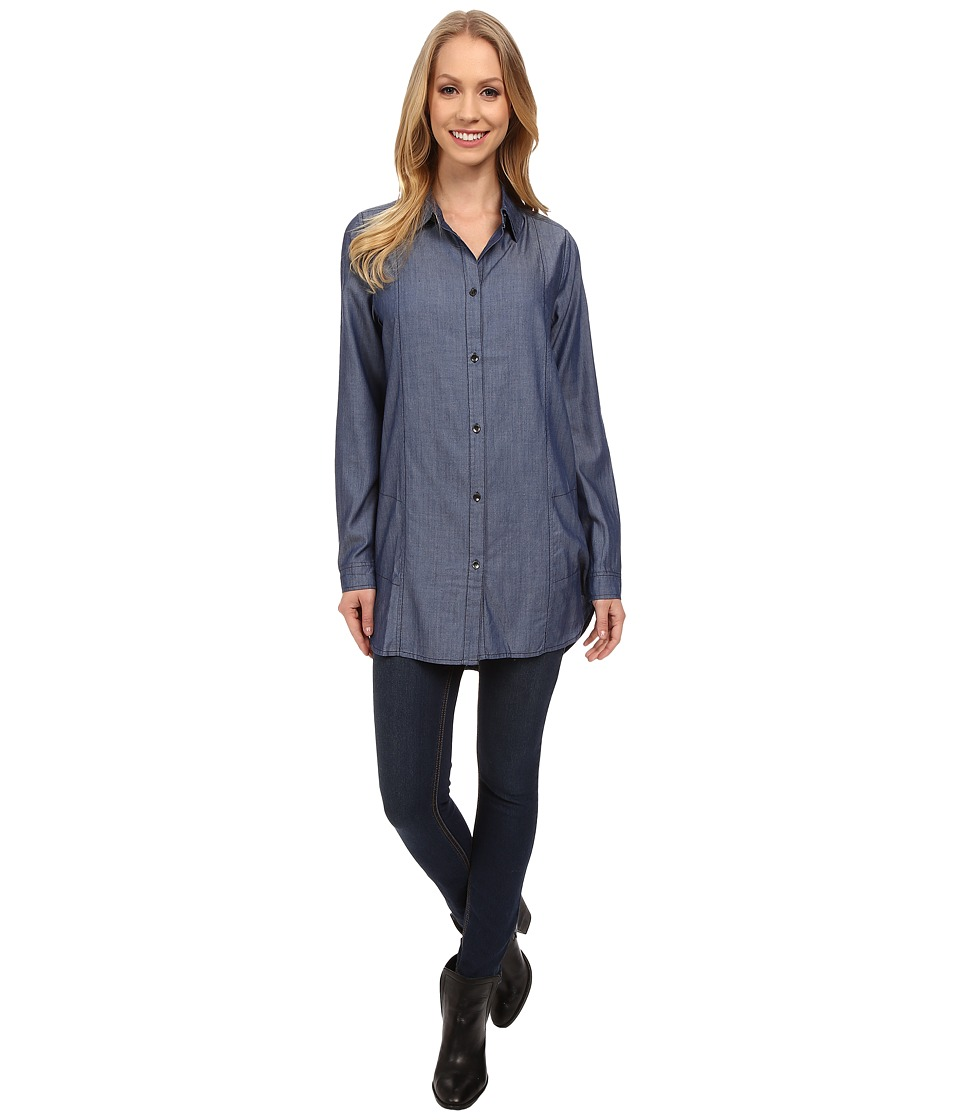 Jag Jeans - Gwen Tunic Relaxed Fit Tunic Woven Tops (Rinse) Women's Long Sleeve Button Up