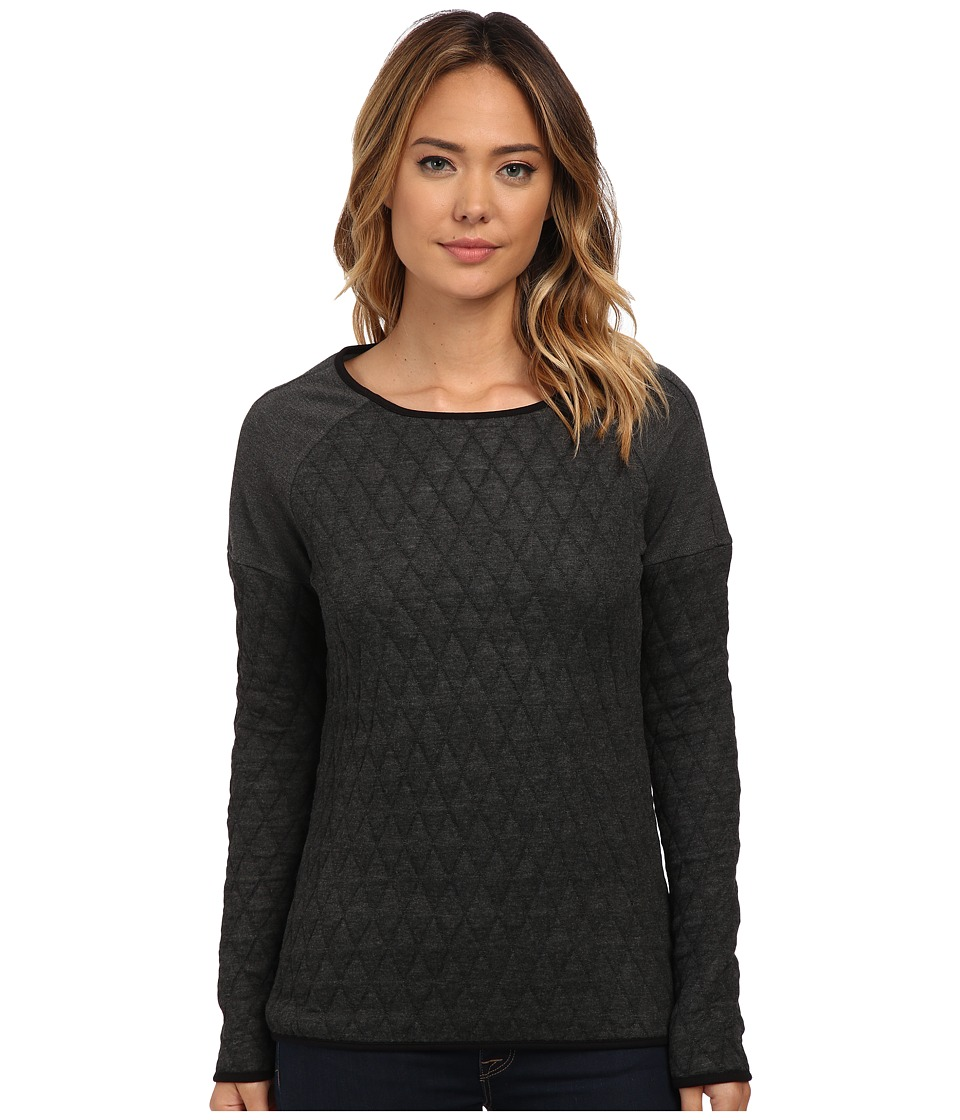 Jag Jeans - Lorna Relaxed Fit Quilted Jersey (Charcoal Heather) Women's Long Sleeve Pullover