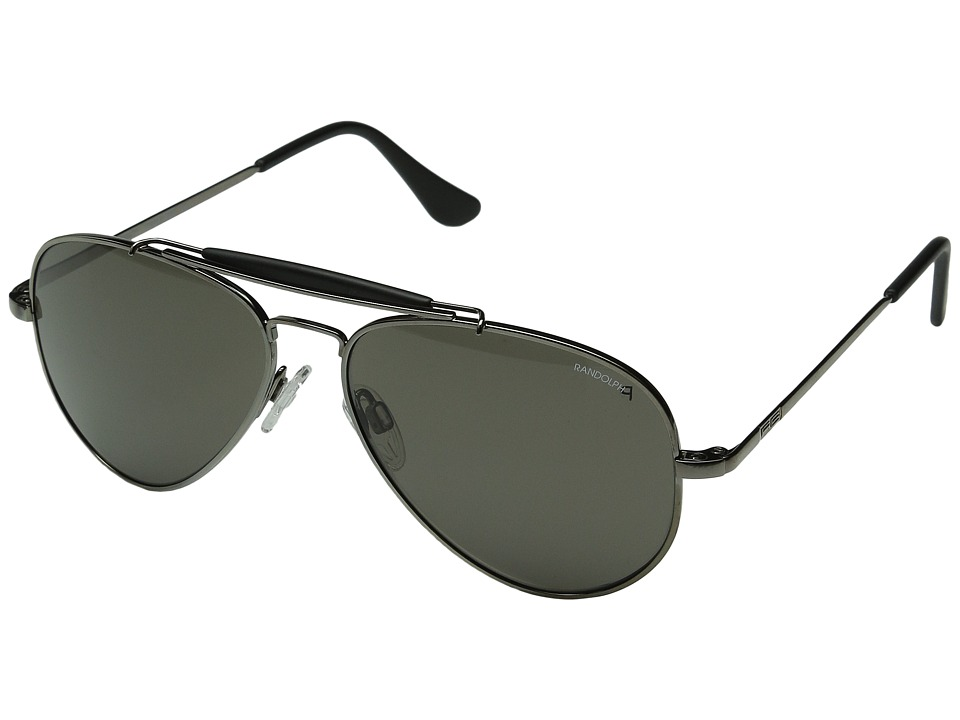 Randolph - Sportsman 57mm Polarized (Gun Metal/Gray Polarized Glass) Fashion Sunglasses