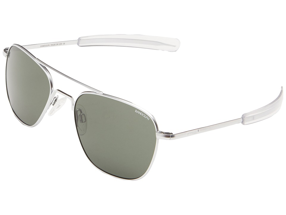 Randolph - Aviator 55mm (Matte Chrome/AGX Glass) Fashion Sunglasses