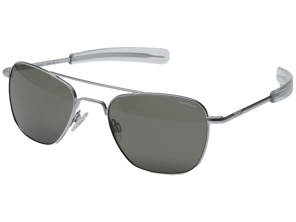 Randolph - Aviator 52mm (Matte Chrome/Gray Glass) Fashion Sunglasses