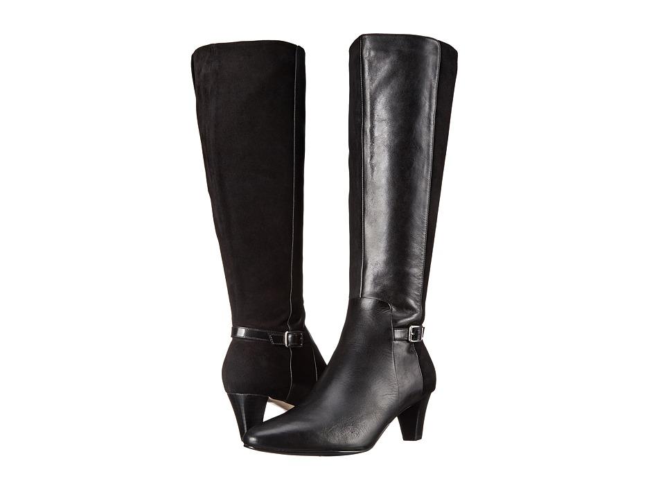 Cole Haan - Sylvan Boot (Black Leather/Black Suede) Women's Dress Zip Boots