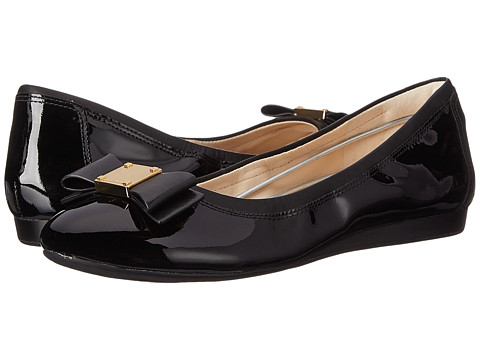 Cole Haan - Tali Bow Ballet (Black Patent/Black) Women's Slip on Shoes