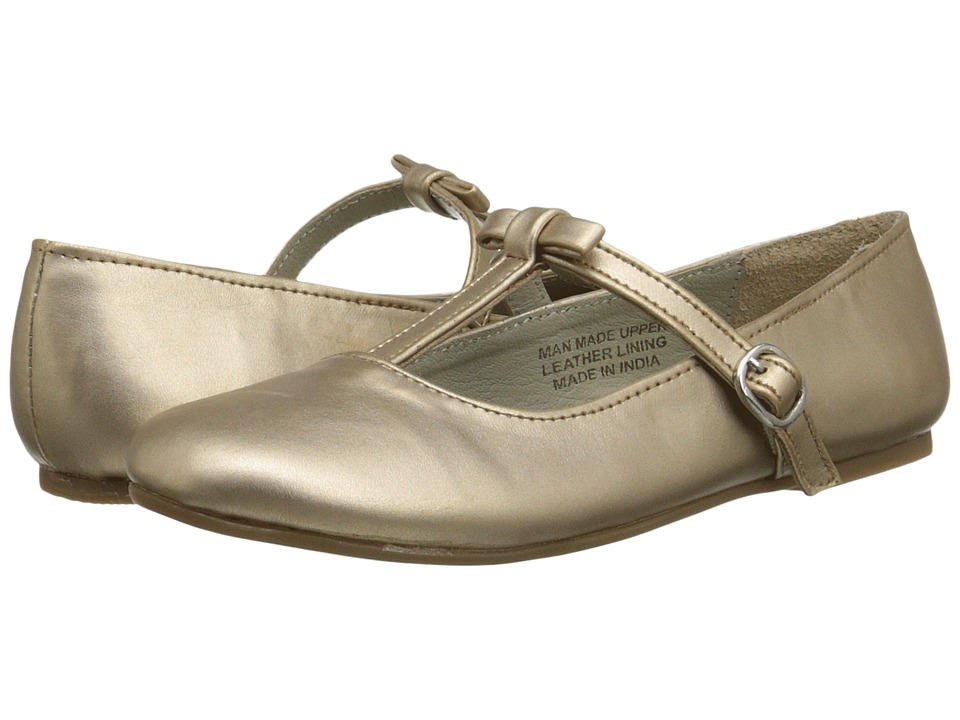 Pazitos - T-Bow MJ PU (Little Kid) (Champagne) Girls Shoes