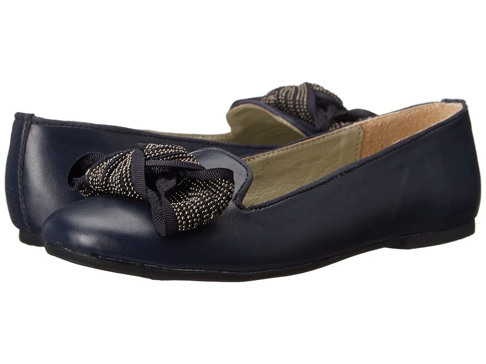 Pazitos - The Big Bow BF PU (Little Kid/Big Kid) (Navy) Girls Shoes