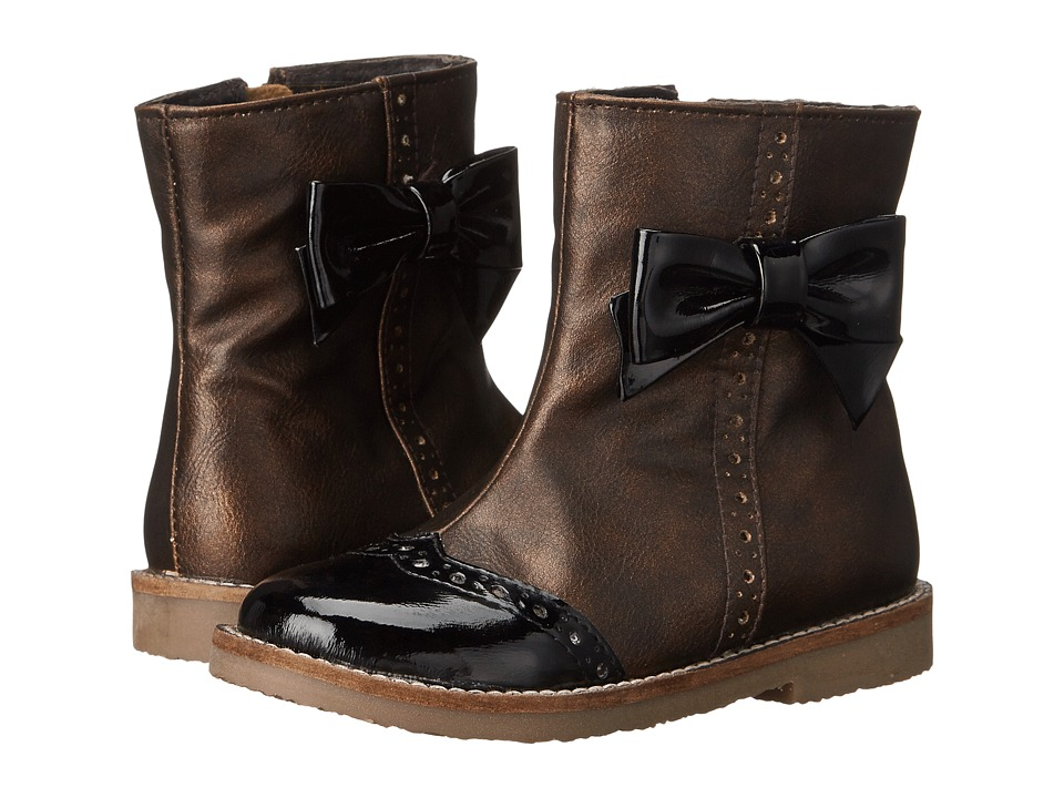 Pazitos - Love Bow Boot PU (Toddler/Little Kid) (Bronze/Black) Girls Shoes