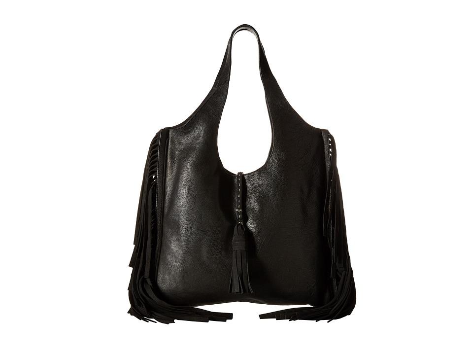 Frye - Farrah Fringe Bag (Black Buffalo Leather) Top-handle Handbags