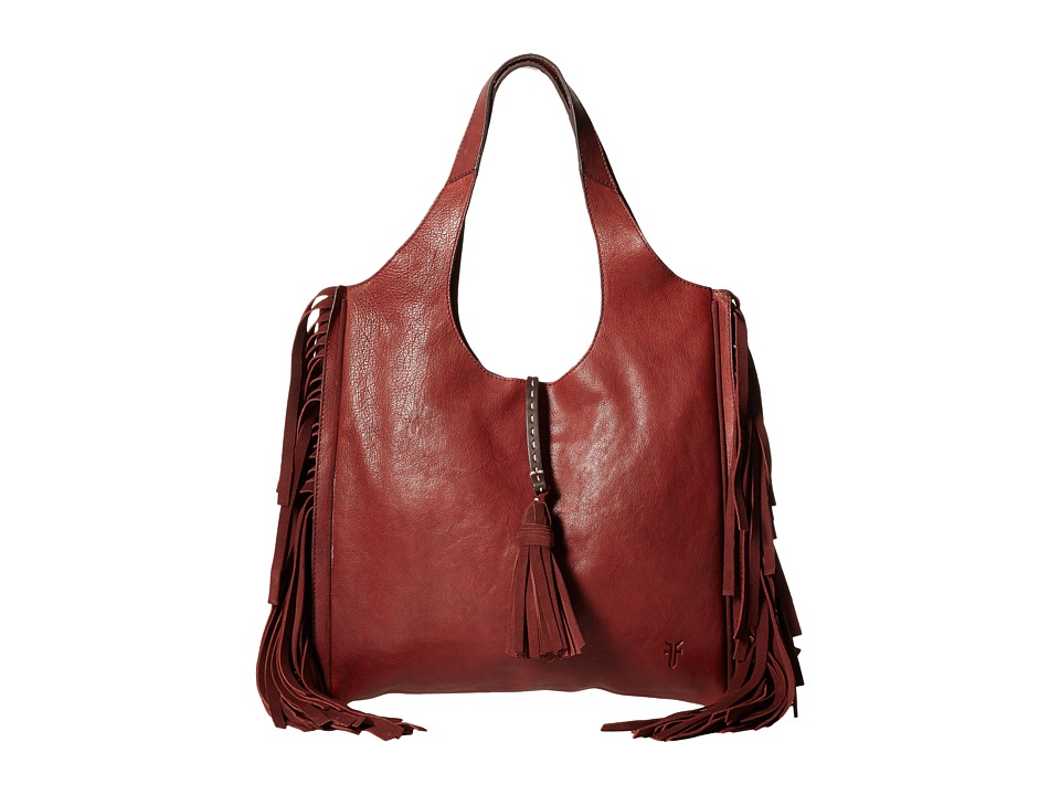 Frye - Farrah Fringe Bag (Burnt Red Buffalo Leather) Top-handle Handbags