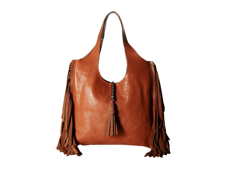 Frye - Farrah Fringe Bag (Cognac Buffalo Leather) Top-handle Handbags