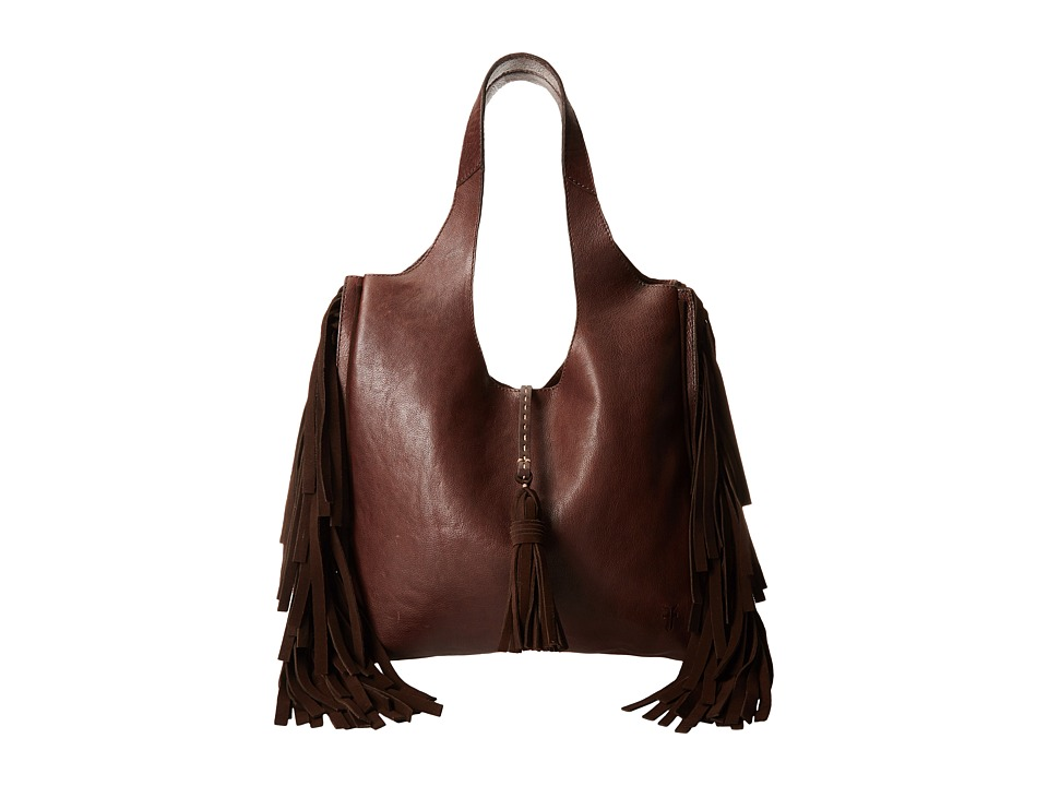 Frye - Farrah Fringe Bag (Dark Brown Buffalo Leather) Top-handle Handbags