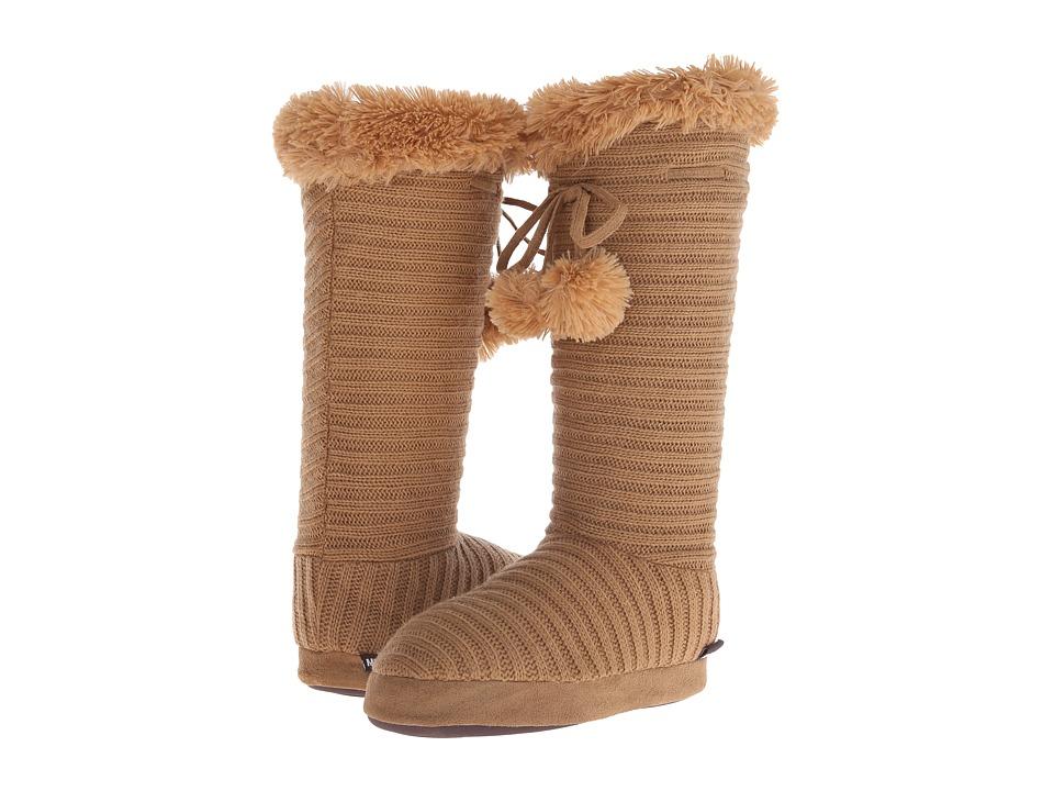 MUK LUKS Slipper Boot w/ Poms (Camel) Women