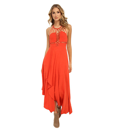 Free People - Toosalossa Slub N Beautiful Stranger Knit Maxi Dress (Summer Red) Women