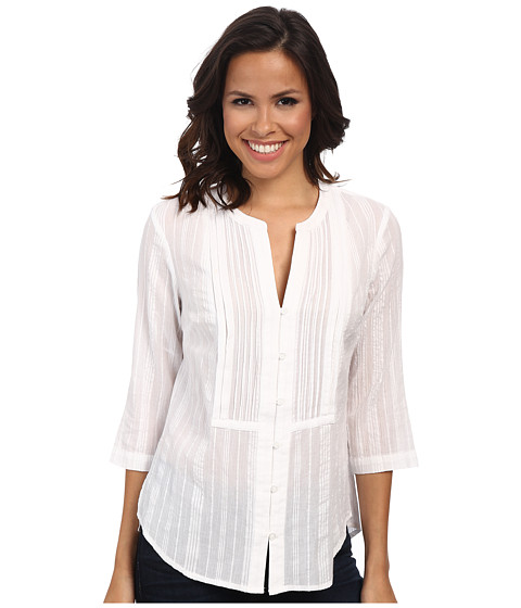 Jones New York - 3/4 Sleeve Button Front Top (White) Women's Blouse