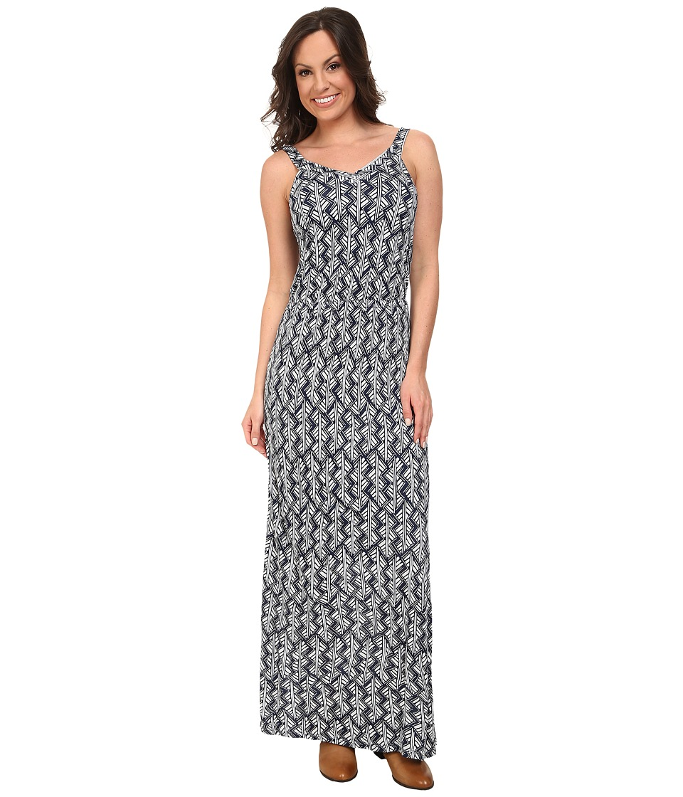Lucky Brand Navy Printed Maxi Navy Multi Dress