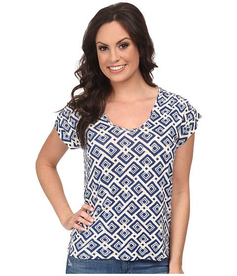 Lucky Brand - Allover Diamond Top (Blue Multi) Women's Clothing