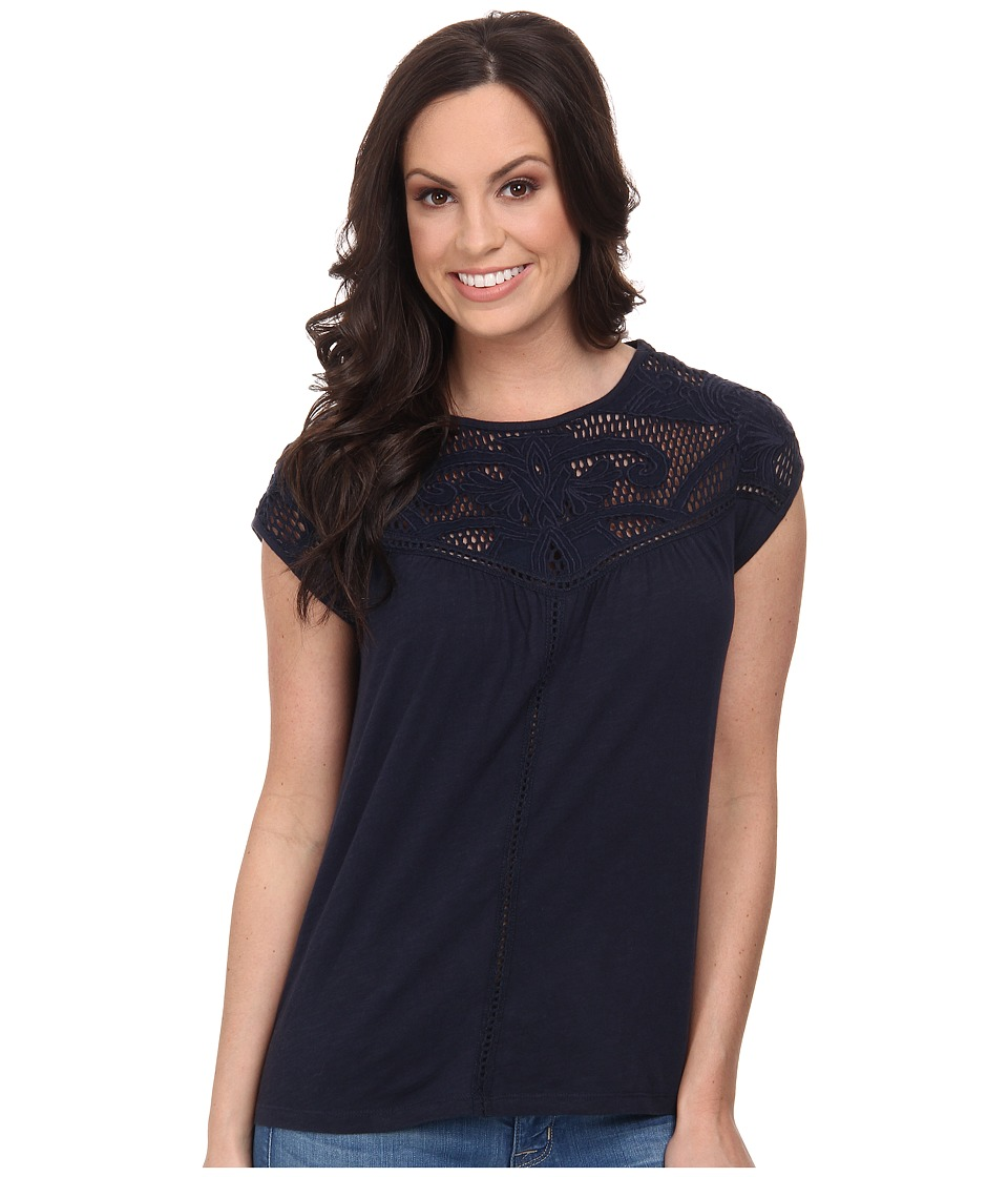 Lucky Brand - Applique Yoke Top (American Navy) Women's T Shirt