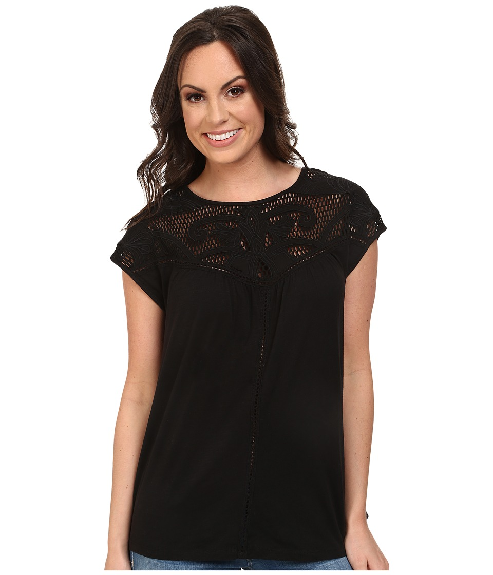Lucky Brand - Applique Yoke Top (Lucky Black) Women's T Shirt