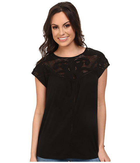 Lucky Brand - Applique Yoke Top (Lucky Black) Women