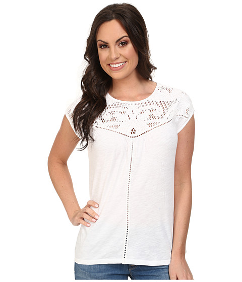 Lucky Brand - Applique Yoke Top (Lucky White) Women's T Shirt