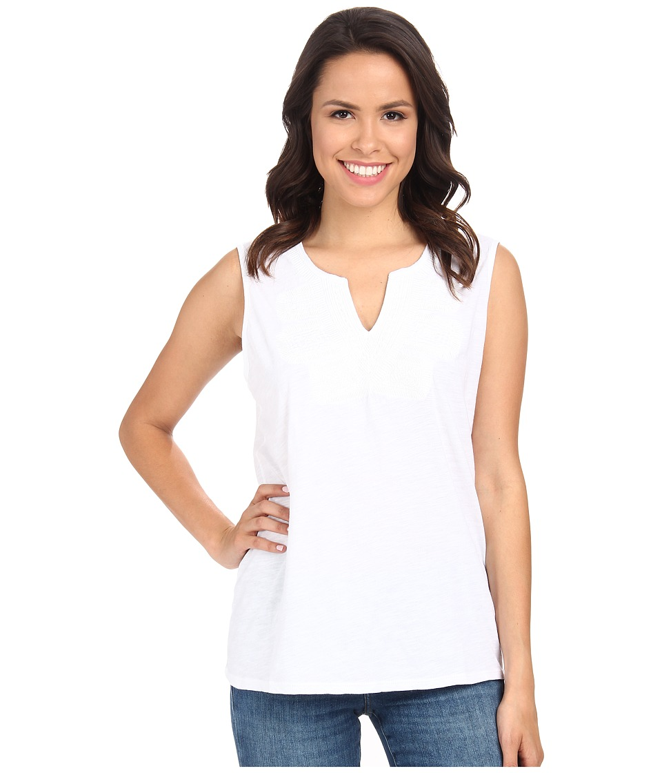 Lucky Brand - Embroidered Bib Tank Top (Lucky White) Women's Sleeveless