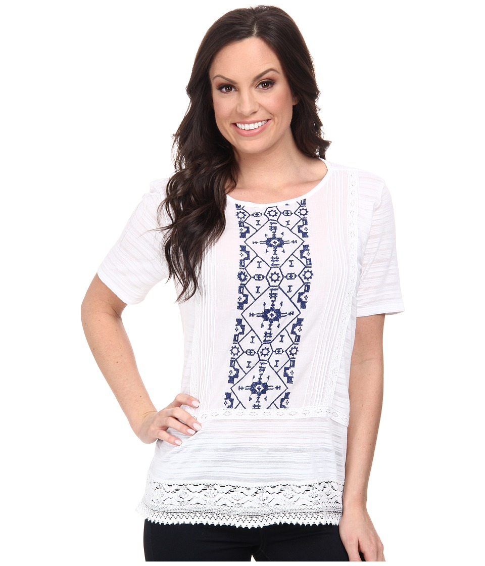 Lucky Brand - Panel Embroidered Top (Lucky White) Women