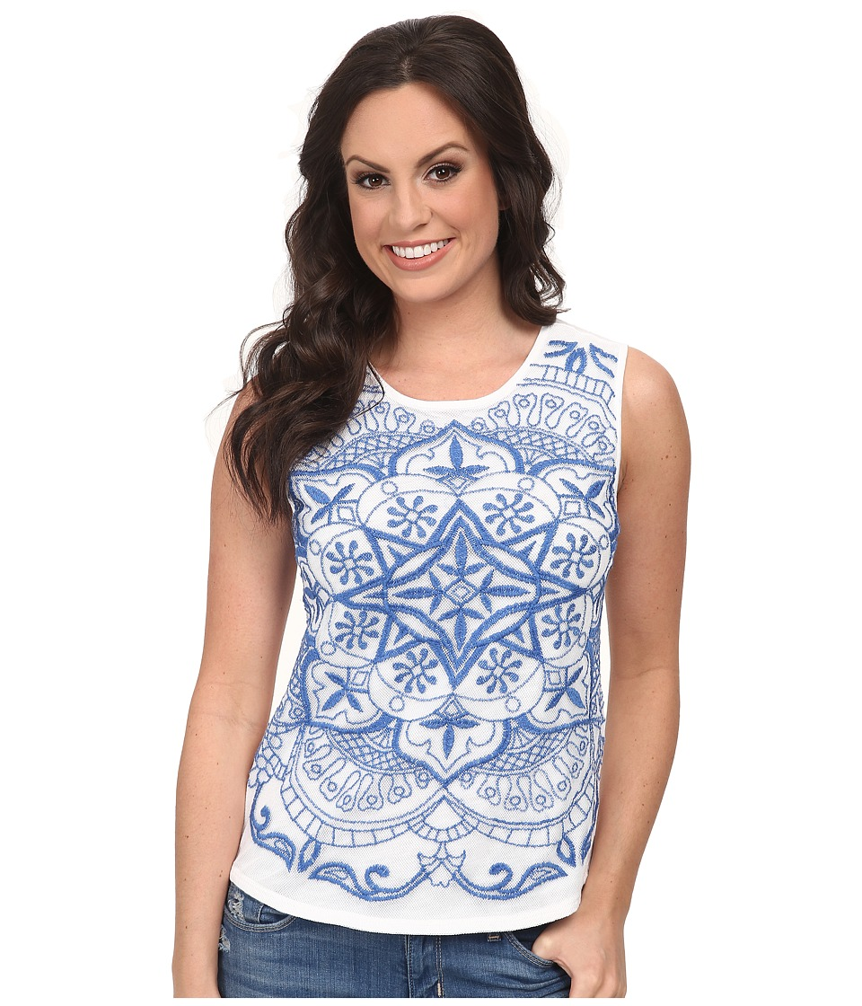 Lucky Brand - Embroidered Mesh Tank Top (Lucky White) Women's Sleeveless