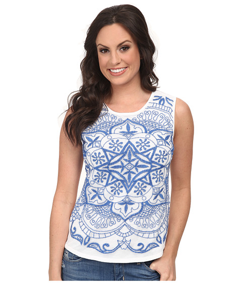 Lucky Brand - Embroidered Mesh Tank Top (Lucky White) Women