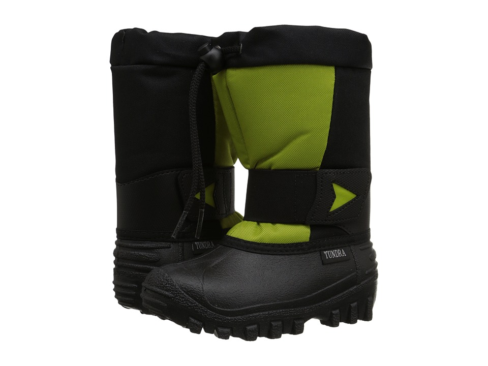 Tundra Boots Kids - Artic Drift (Toddler/Little Kid) (Black/Lime Green) Kids Shoes