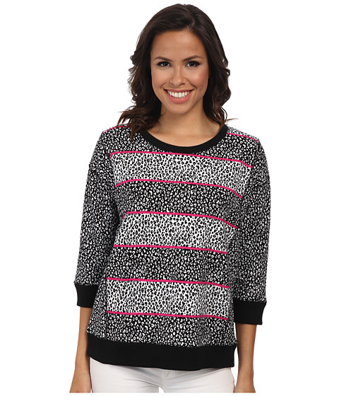 Jones New York - Animal Print Panel Sleeve Pullover (Black/J White) Women's Clothing