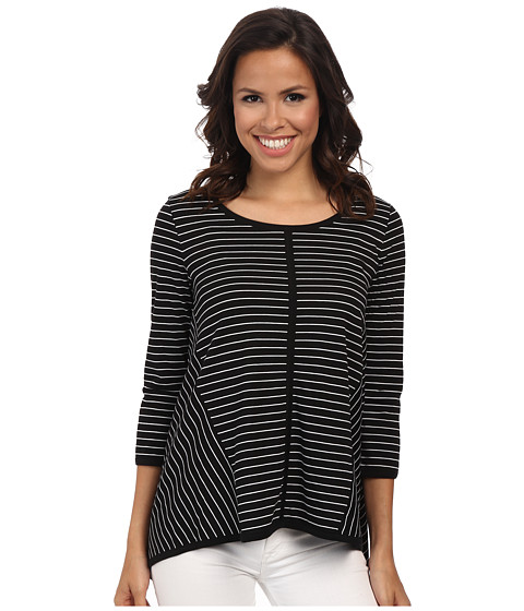 Jones New York - Asymetric Top (Black/J White) Women's Clothing