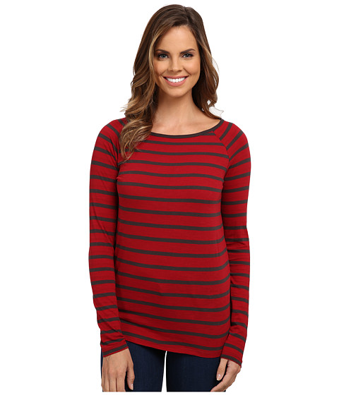 Jag Jeans - Brier Stripe Tee Classic Fit Shirt Striped Jersey (Hot Tamale) Women's T Shirt