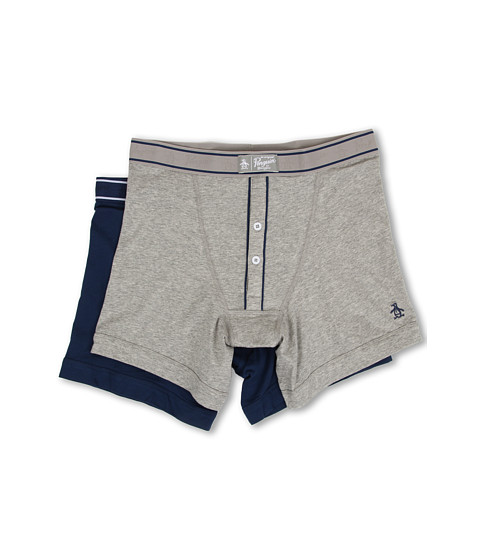 Original Penguin - 2-Pack Earl Boxer Brief (Grey Heather/Classic Blue) Men's Underwear
