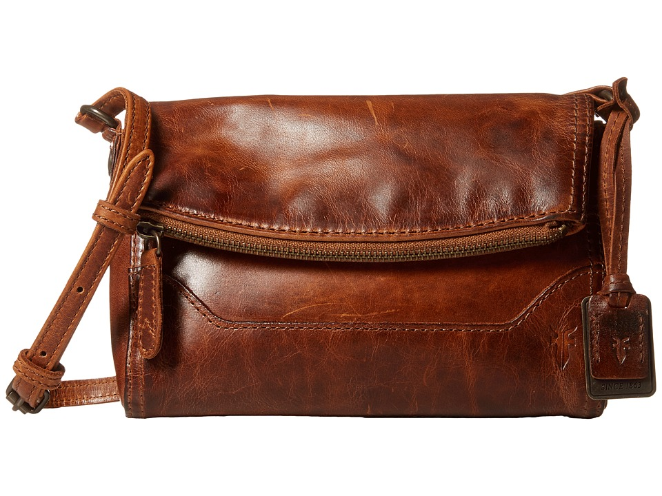 Frye - Melissa Foldover (Cognac Antique Pull Up) Shoulder Handbags