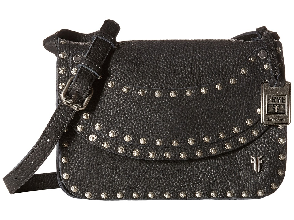 Frye - Nikki Nail Head Crossbody (Black Soft Tumbled Full Grain) Cross Body Handbags
